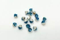 Aquamarine Comet Argent Light Swarovski Crystal Bicone Beads 5301/5328