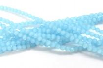 Aqua Blue Fiber Optic Glass (Cats Eye) Faceted Round Beads