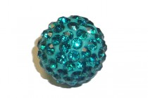 Teal ( Blue/Green ) Chinese Crystal Pave Round Bead