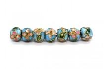 Aqua Blue Cloisonné Rondelle Beads with Colorful Flowers CL-175