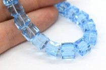 Aquamarine Swarovski Crystal Cube Beads 5601 8mm - Sale