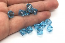 Aquamarine Swarovski Crystal Bicone Beads 5301/5328