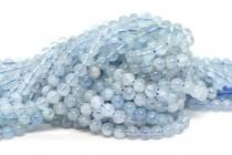 Aquamarine (Natural) Smooth Round Gemstone Beads