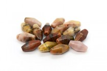 Australian Picture Jasper (Natural) Six Sided Double Cone Gemstone Beads