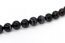 Black and White Sardonyx (Dyed) Smooth Round Gemstone Beads