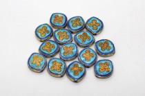 Aqua Blue, Cobalt Blue & Orange Cloisonne Quatrefoil Rounded Diamond Beads CL-30