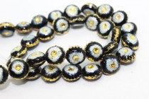 Enamel Black & White Floral Beads - Puffed Coin