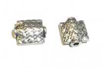 Sterling Silver Bali Style Textured Square Bead - 8mm BA - 77