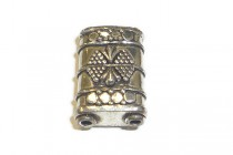 Sterling Silver Bali Style - Two Hole Rectangle Bead with Intricate Design