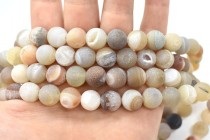 Banded Druzy Agate, Natural, Frosted, Round Gemstone Beads, Peach / Brown
