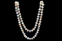 Irregular Potato Freshwater Pearl Silk Knotted Necklace - Multi Colored Natural - AB Grade