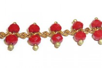 Beaded Chain - Red Opaque Faceted Rondelle Glass Beads on Copper Chain