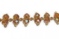 Beaded Chain - Double Topaz Brown AB Faceted Beads on Copper Chain