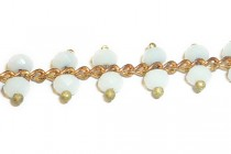 Beaded Chain -Double White (Milky) Faceted Round Beads on Copper Chain