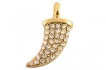 Beadelle Crystal Mini Charm, Horn  - Gold Plate / Crystal