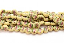Ivory Floral Porcelain Coin Shaped Beads