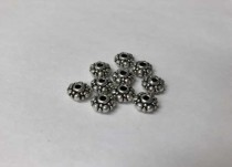 Pewter Base Metal Bead, Saucer/ Rondelle, Lg & Sm Dots,8mm,3mm hole