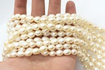 Cream Ivory (Dyed) Oval/Rice Freshwater Pearl Beads - Large Hole
