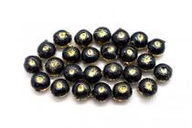 Black & Gold Enamel Flower Shaped Beads - Puffed Coin EN-02