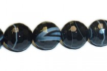 Banded Agate (Dyed) Faceted Disco Ball Cut Round Gemstone Beads -  Black