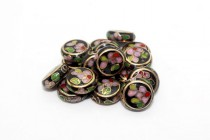 Enamel Black Floral Beads - Coin / Dime