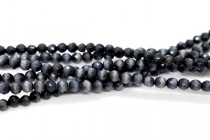 Black Fiber Optic Glass (Cats Eye) Faceted Round Beads