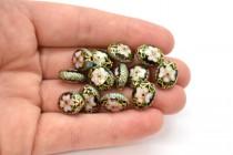 Black Cloisonne Flat Oval Bead with Pink Flowers & Aqua Blue Edges CL-143