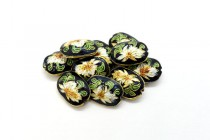 Black Cloisonne Oval with White Lily Flower CL-21