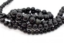 Black Obsidian (Natural) Smooth Round Gemstone Beads