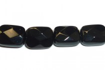 Black Onyx (Dyed) Faceted Flat Rectangle Gemstone Beads