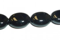 Black Onyx (Dyed) Smooth Flat Oval Gemstone Beads