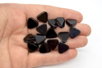 Black Onyx (Dyed) Flat Triangle Gemstone Beads