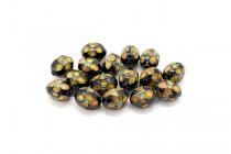 Black Cloisonné Egg Shaped Beads with Orange Flowers LSC-32