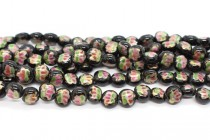 Black Floral Coin Shaped Porcelain Beads with Gold Accents