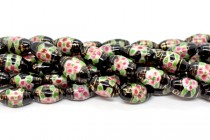 Black Floral Rice/Oval Porcelain Beads with Gold Accents
