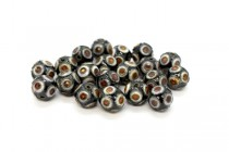 Black, White & Red Cloisonne Round Beads with Circle Design CL-104