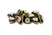 Black Cloisonne Triangle Beads with Pink Floral Design CL-148