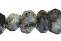 Black Tourmalated Quartz faceted Nugget Gemstone Beads,20x12mm