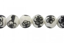 Black & White Round Porcelain Beads with Floral Design