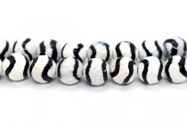 Black & Cream Tibetan Agate (Dyed) Faceted Disco Cut Round Gemstone Beads
