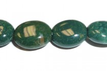 Bloodstone (Natural) Flat Oval Gemstone Beads