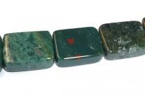 Bloodstone (Natural) Flat Rectangle Gemstone Beads