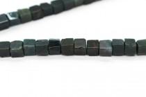 Bloodstone (Natural) Cube Gemstone Beads