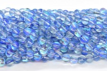 Blue AB Fused Glass Smooth Round Beads