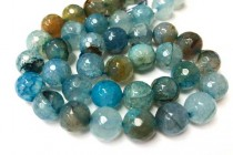 Agate (Dyed ) Faceted Disco Ball Cut Round Gemstone Beads -Aqua Blue