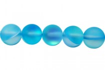 Aqua Blue AB Matte / Frosted Glass Round Beads
