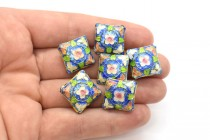 Blue Cloisonne Diamond Beads with Floral Accents CL-39
