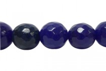 Agate (Dyed) Faceted Disco Ball Cut Round Gemstone Beads - Blue Cobalt