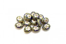 Cobalt Blue Cloisonne Flat Oval Beads with Pink Flowers and Aqua Blue Edges CL-145