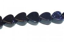 Blue Goldstone (Man Made) Heart Gemstone Beads